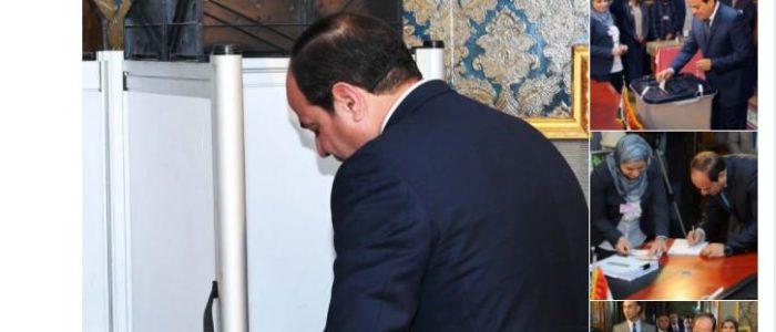 """حساب الرئيس على """"تويتر"""" ينشر مجموعة صور أثناء إدلائه بصوته فى الانتخابات"""