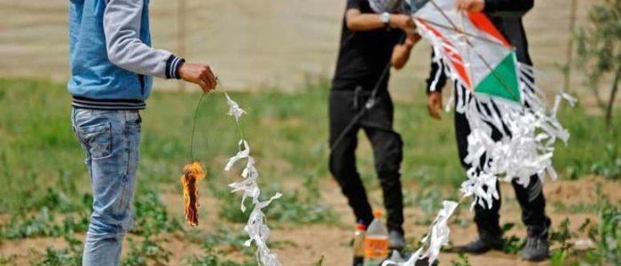 """الطائرات الورقية """"النارية"""" تشعل نيرانا بمستوطنات غلاف غزة"""