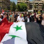 آلاف السوريين يتظاهرون فى حلب رفضا للعدوان الثلاثي