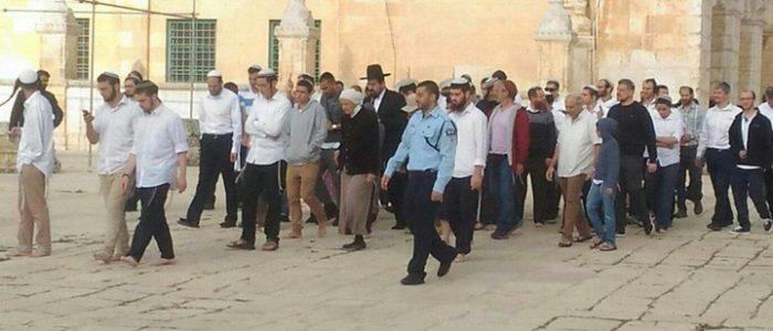 مستوطنون يقتحمون الأقصى بحراسة من قوات الاحتلال