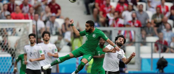 مصر تحرز الهدف الأول في الدقيقة 22 في المباراة مع السعودية