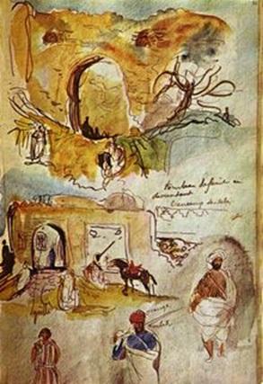 صفحة من دفتر ديلاكروا المغرب 1832