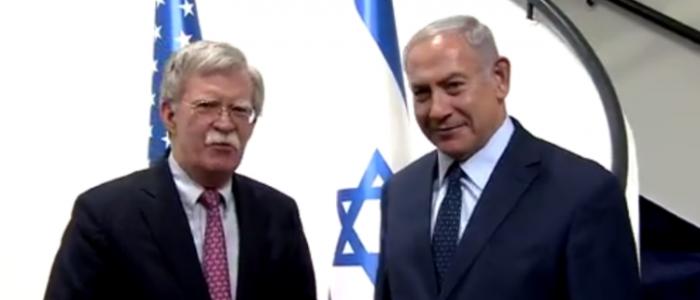 """بالفيديو.. نتنياهو يشعر بالرضا لسماعه بولتون يقول """"القدس عاصمة إسرائيل"""""""