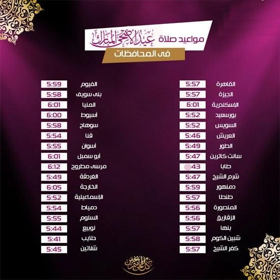 مواقيت صلاة عيد الأضحى فى محافطات مصر
