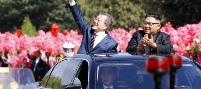 موكب لزعيمي الكوريتين عبر بيونجيانج قبل إجراء محادثات