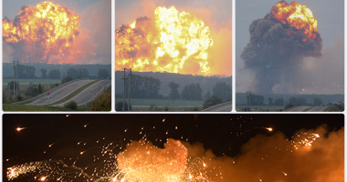 إجلاء 10 آلاف شخص عقب انفجارات مستودع ذخيرة بأوكرانيا