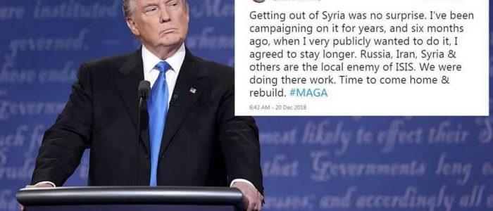 """خطأ ترامب الإملائي في """"تغريدات الانسحاب"""" يثير السخرية"""