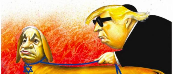 """""""نيويورك تايمز"""" تعتذر عن كاريكاتير أظهر نتنياهو """"كلبا يُرشد ترامب"""""""