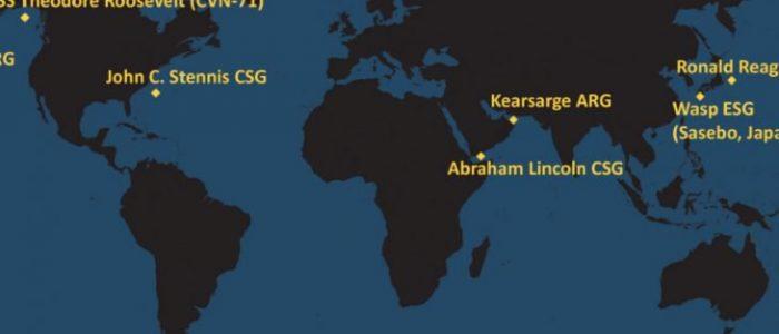 خريطة انتشار حاملات الطائرات والسفن البرمائية الأمريكية في العالم حاليا