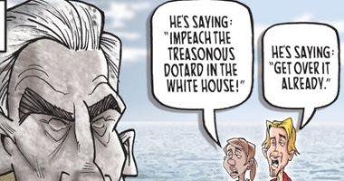 خناقة الديمقراطيين والجمهوريين على بيان مولر فى كاريكاتير USA Today