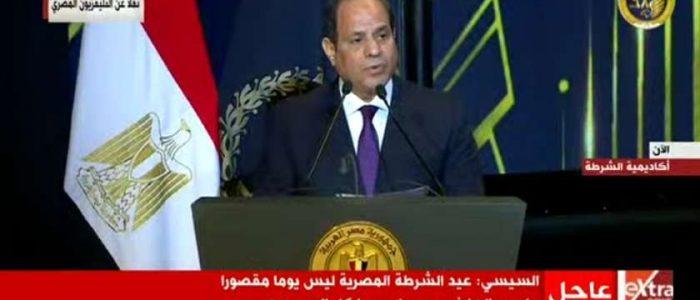 السيسي يتوجه بالتحية للشعب في ذكرى ثورة 25 يناير وعيد الشرطة