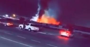 اندلاع حريق بساحة قطار الحرمين بالسعودية والدفاع المدنى يحاول إخماده